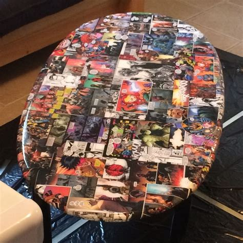 upcycled  table   comic book themed coffee table