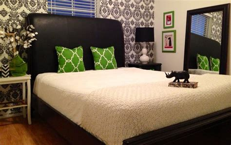 Bedroom Black White And Green by Black White And Green Damask Guest Room Contemporary