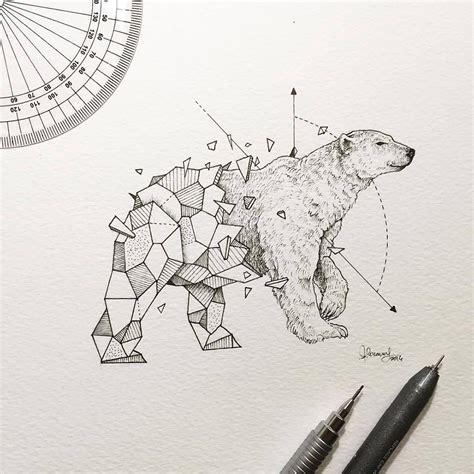 intricate drawings  wild animals fused  geometric