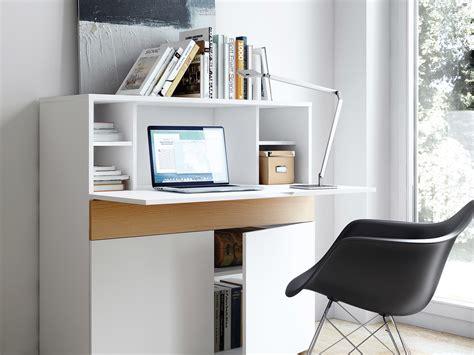 bureau secretaire bureau secrétaire en bois placage chêne et blanc mat