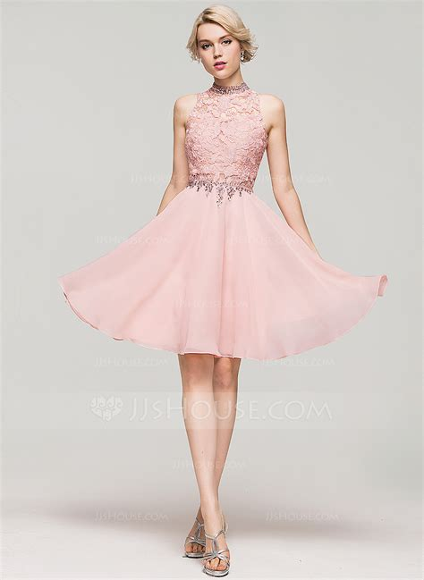 light blue 15 dresses a line princess high neck knee length chiffon homecoming
