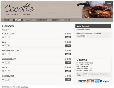 commande cuisine en ligne comment créer un site de commande en ligne livepepper