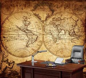 wall world map mural peenmediacom With kitchen cabinets lowes with antique world map wall art