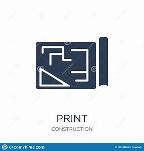 Blueprint, Icon, Trendy, Flat, Vector, Blueprint, Icon, On, White, Background, From, Construction