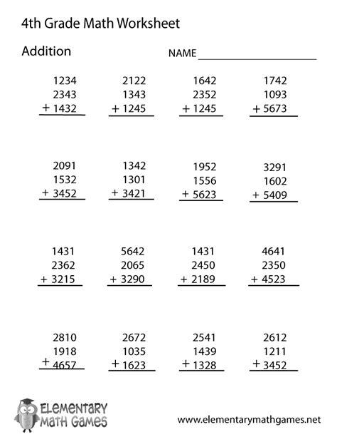 fourth grade addition worksheet printable add 4th