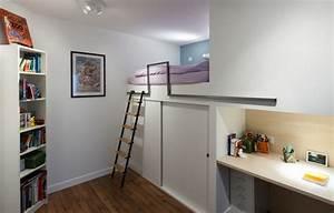 Aménagement Petite Chambre Ado : chambre d 39 enfant avec mezzanine contemporain chambre d ~ Teatrodelosmanantiales.com Idées de Décoration