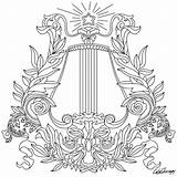 Coloring Harp Drawing Line Adults Printable Sheets sketch template
