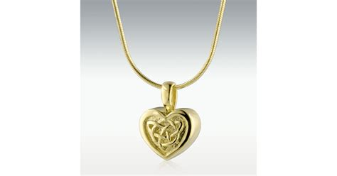 celtic heart  gold vermeil cremation jewelry engravable