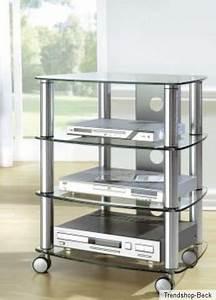 Tv Turm Möbel : hifi rack mit rollen tv phonowagen glas metall regal fernsehtisch rollbar chrom ebay ~ Markanthonyermac.com Haus und Dekorationen