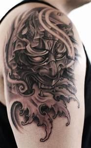 Shoulder Hannya Mask tattoo - Chronic Ink