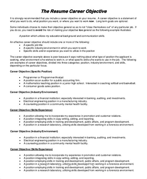 A Objective For Resume by Sle Resume Objective 8 Exles In Pdf