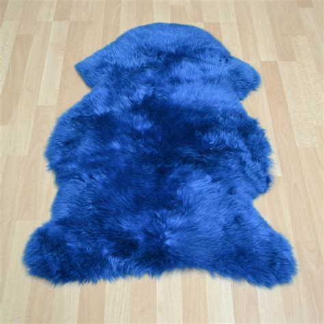 Bowron Sheepskin Rugs In Fiord Blue  Free Uk Delivery