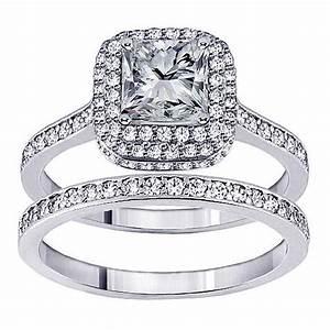 14k white gold 2ct tdw princess diamond bridal ring set With white gold wedding rings