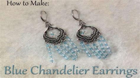 how to make blue chandelier earrings diy jewelry