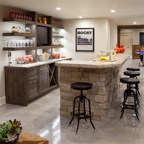 transitional bar  stacked stone island  open