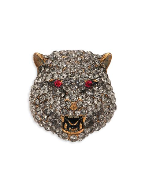 gucci feline crystal brooch  metallic lyst