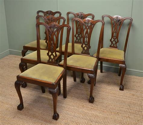 antique dining chair set of six chippendale design antique dining chairs 1267