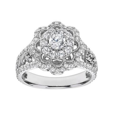 simply vera vera wang flower engagement ring in