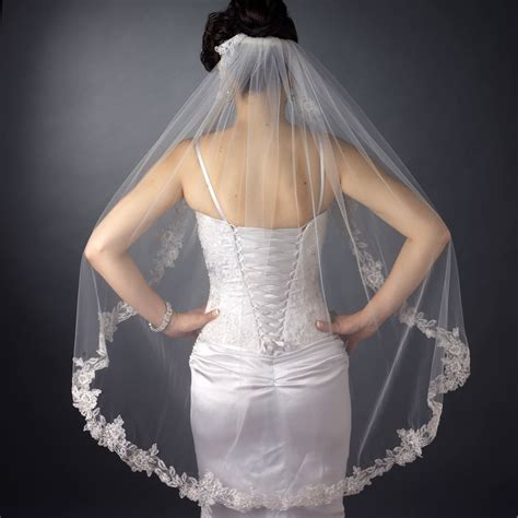 Floral Lace And Pearl Waltz Wedding Veil