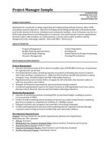 project manager resume template resume sles better written resumes