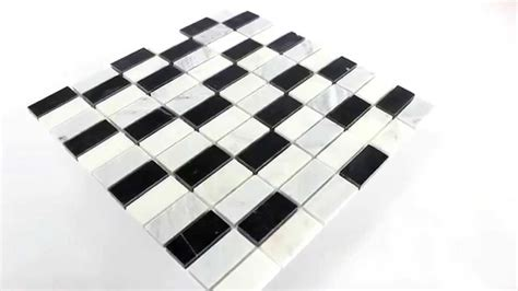 marmor mosaik fliesen schwarz weiss mix