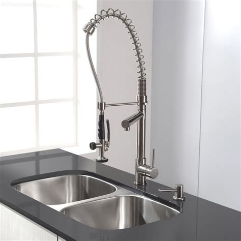 Three Compartment Sink Faucet With Sprayer
