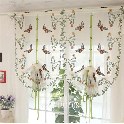rustic butterfly flowers design curtain liftable