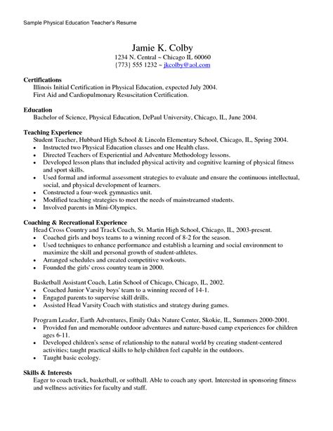 Physical Education Resume Exle by Aid Resume Sales Lewesmr