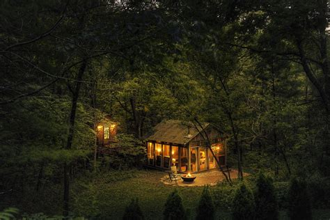 cabin   woods  night hd wallpaper background