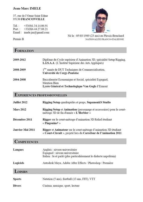 Format Cv Francais by Francais Curriculum Vitae Template Ossaba Faire Cv En