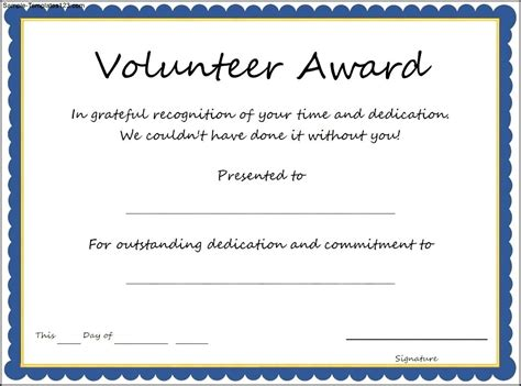 Tke Award Certifricate Template by Simple Volunteer Award Template Exle With Blue Frame
