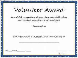 volunteer of the year certificate template best With volunteer of the year certificate template