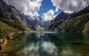 Natural Beauty Mountain Lake Marian New Zealand Hd Wallpaper   Wallpapers13 Com