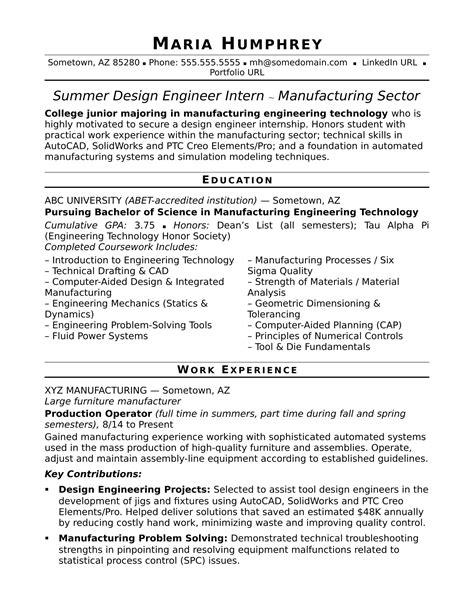 sle resume for an entry level design engineer monster com