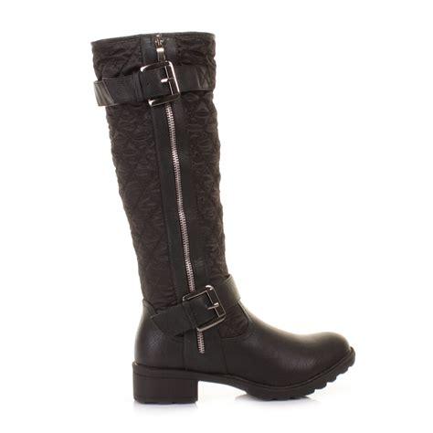 cheap black biker boots womens black knee high quilted ladies biker style zip