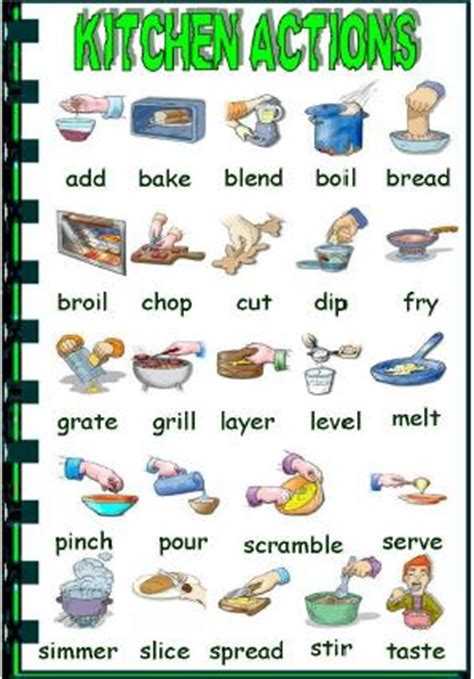 Glossary Of Terms Commonly Used In Primary Revision Cooking Verbs Picture Dictionary