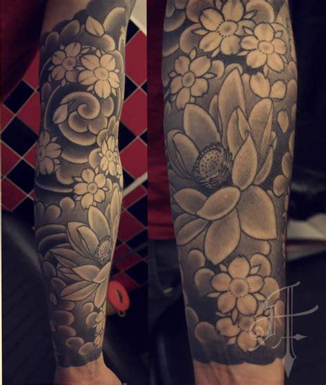 black  grey japanese tattoos quarter sleeve japanese