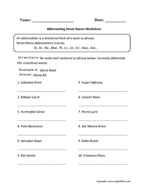 englishlinx com abbreviations worksheets