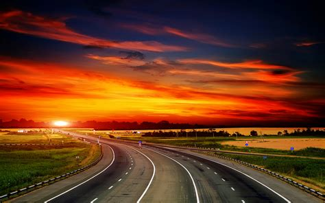 Wallpaper Highway, Sunset, Landscape, Hd, World, #5561