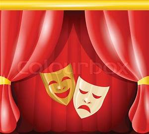Theater Happy And Sad Masks On Red Curtain Background Vector Illustration Stock Vector Colourbox