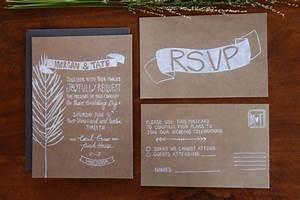 illustrated wedding invitation rustic kraft paper onewedcom With wedding invitations on craft paper