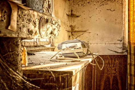picture cobweb phone cable abandoned wall hotel