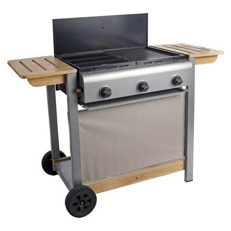 gaz cuisine barbecue gaz 3 brûleurs grill plancha en fonte sur chariot 6