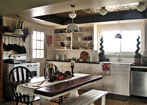 Country Kitchen: Dark Stained Butcher Block Countertop