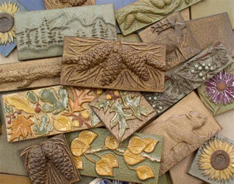handmade ceramic tiles animal pinecone flower and leaf