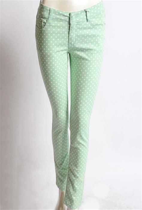 skinny jeans retrospective games polka dot pastel green