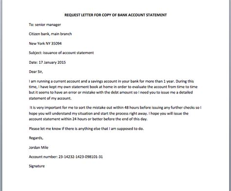 bank account statement request letter smart letters