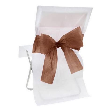 achat housse de chaise mariage intiss 233 e blanche avec noeud chocolat tables 1001 deco table