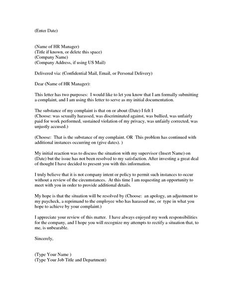 sample complaint letter  employee