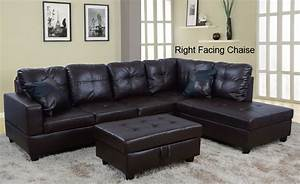 Low profile espresso faux leather sectional sofa w right for Small spaces sectional sofa black faux leather